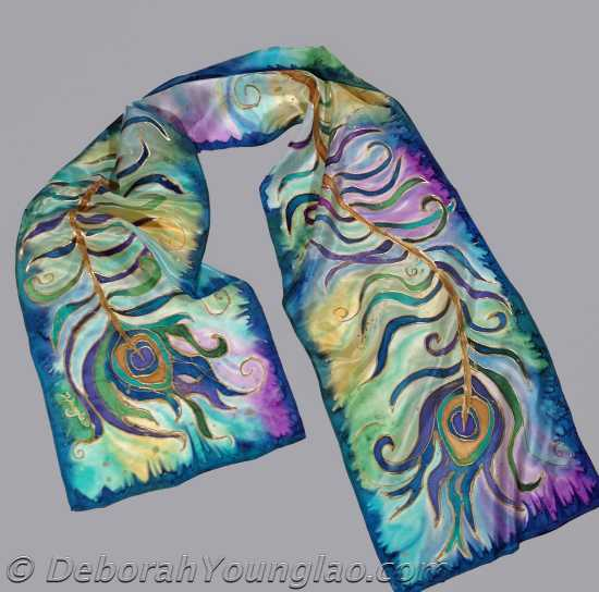 Deborah Younglao hand painted peacock feathers silk scarf