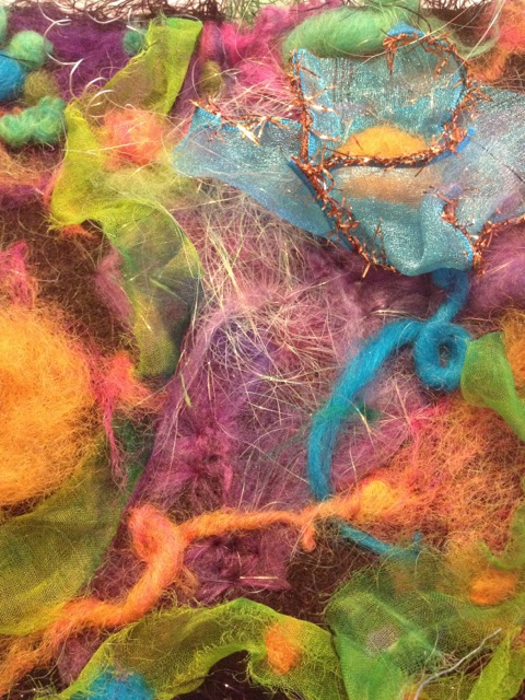 Needle felt abstract art detail