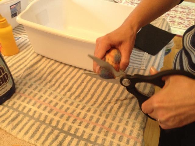wet felting class: preparing a geode
