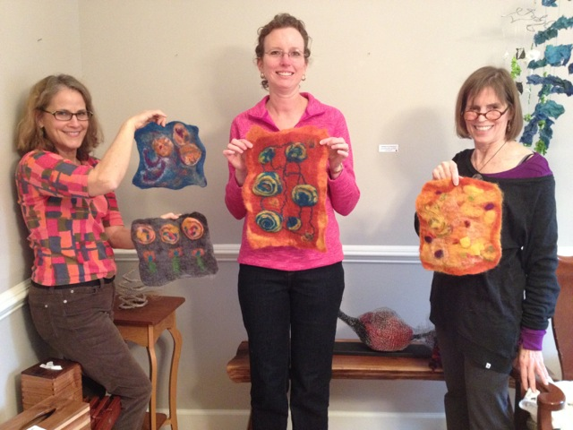 Christie Minchew wet felting class: finished felted pieces