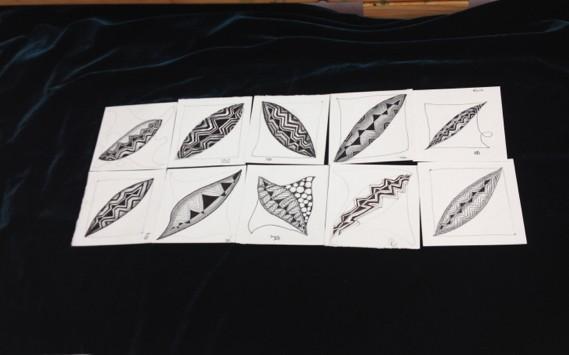 Piedmont Silk Painters Zentangles practice