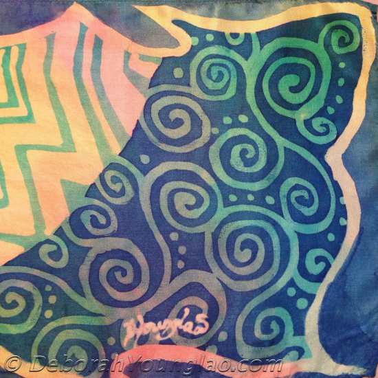 zentangle inspired hand painted silk scarf detail