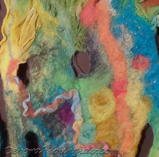 nuno felted silk chiffon scarf WIP