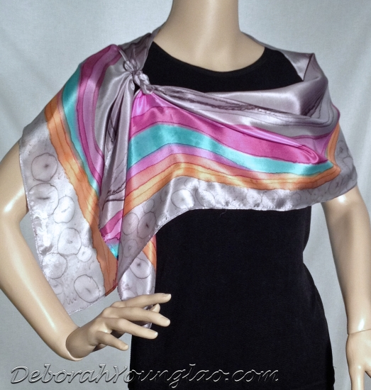 silk scarf, wavy stripe design