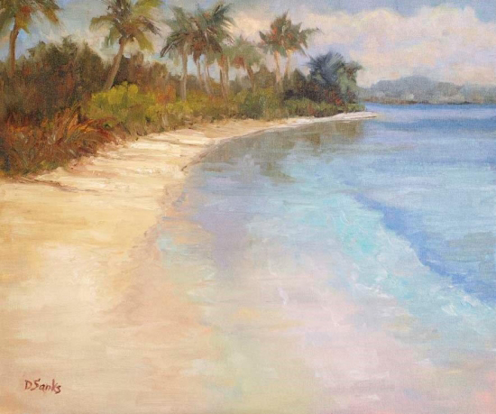 Deborah Sanks oil painting Tahiti Beach