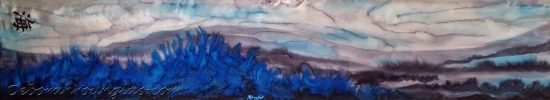 Deborah Younglao 'Color me Ocean' blue hand painted silk scarf