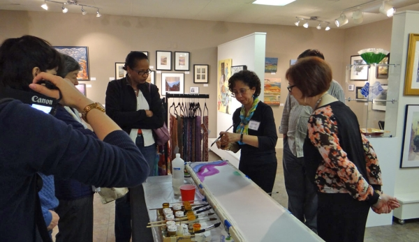 Deborah Younglao Silk painting scarf demo at Village Art Circle