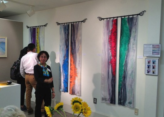 Deborah Younglao silk scarf display 'Wearing the Color Wheel'