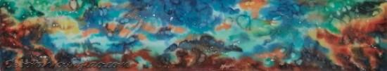 Deborah Younglao hand painted cosmos silk scarf