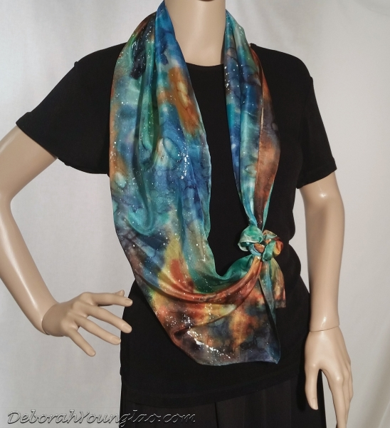 hand painted cosmos silk scarf
