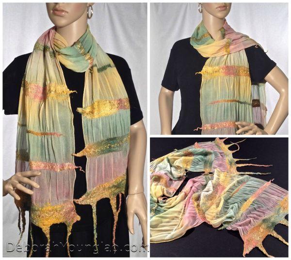 nuno felted silk chiffon scarf
