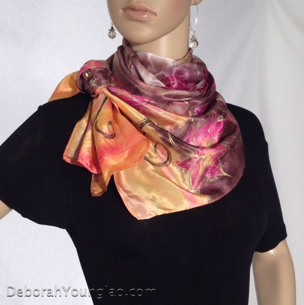 hand painted silk scarf fall leaves