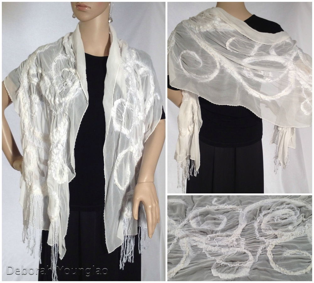 N039 - approx. 15 x 72 in. Silk chiffon, wool roving, and other fibers.  White