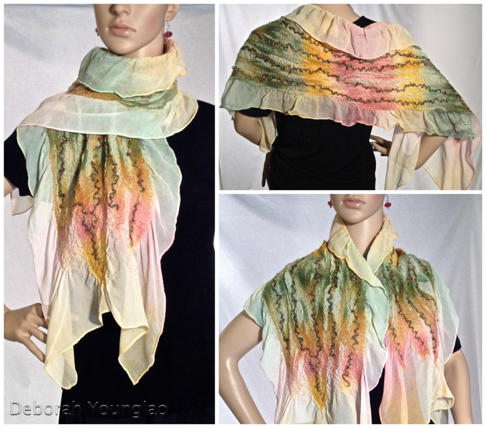 #N011 - approx. 14 x 55 in. Silk chiffon, wool roving, yarn and other fibers.   Rose, Green, Gold, Tan  SOLD