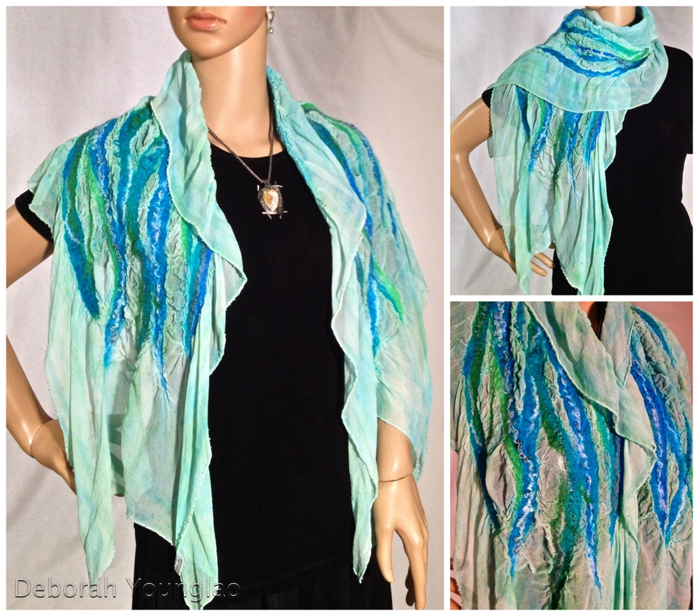 #408 - approx. 15 x 60 in. Silk chiffon, wool roving, yarn and other fibers. Beaded along edges  Teal, turquoise, green, white
