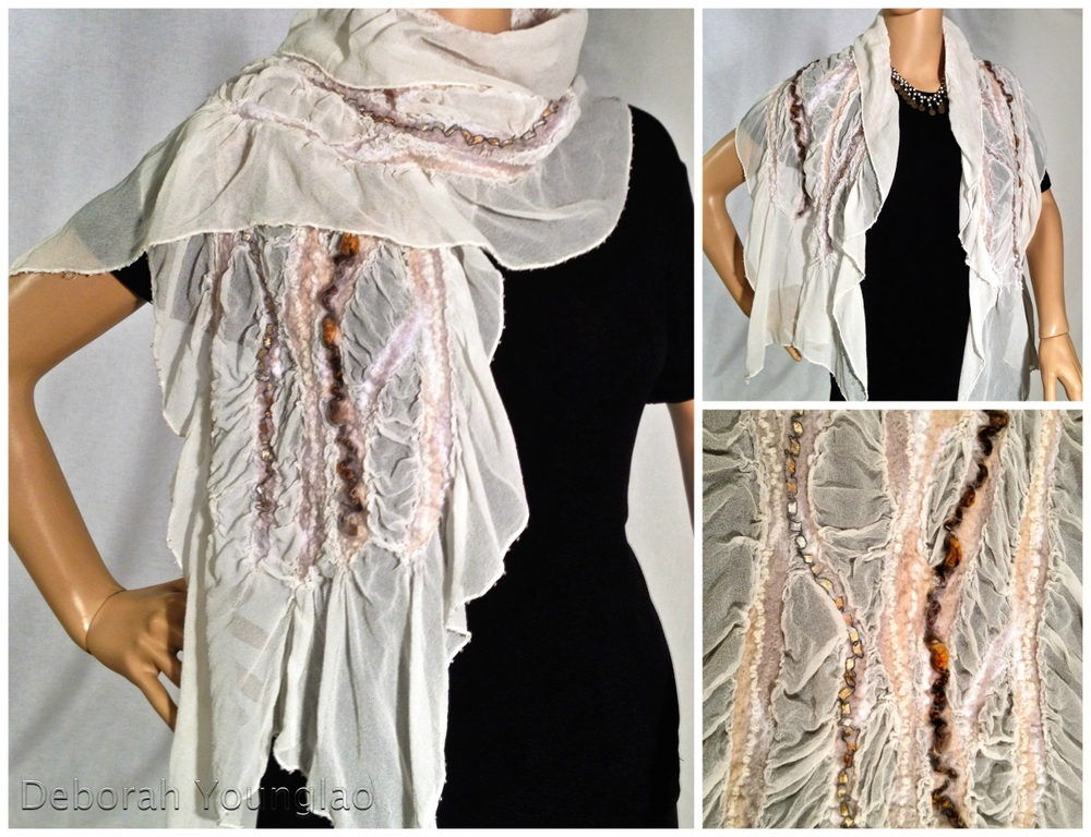 #409 - approx. 15 x 60 in. Silk chiffon, wool roving, yarn and other fibers. Beaded along edges  White, beige, brown