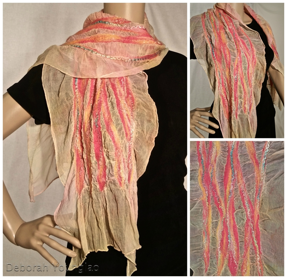 #407 - approx. 15 x 60 in. Silk chiffon, wool roving, and other fibers.  Peach, pink, coral