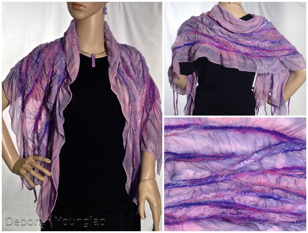 N024 - approx. 15 x 60 in. Silk chiffon, wool roving, and other fibers.  Purple, magenta