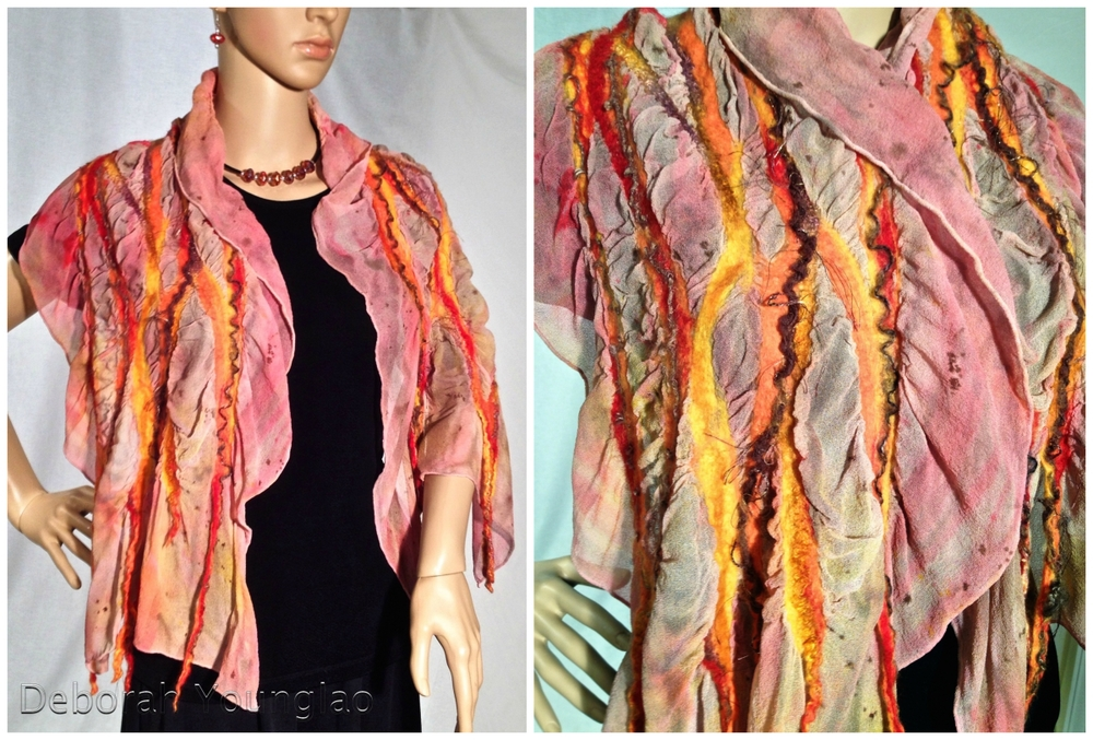#407 - approx. 15 x 60 in. Silk chiffon, wool roving, and other fibers.  Coral, red, yellow, brown