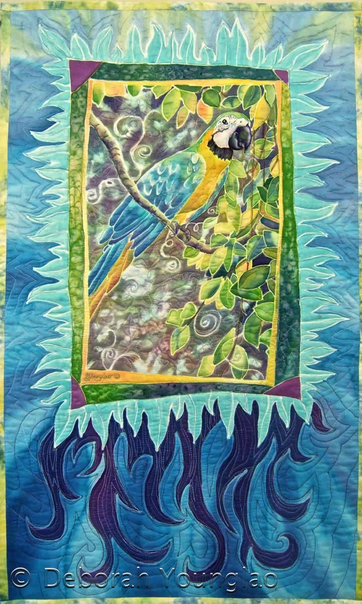 'Maggie Macaw', 38 x 23 in. Quilted painting