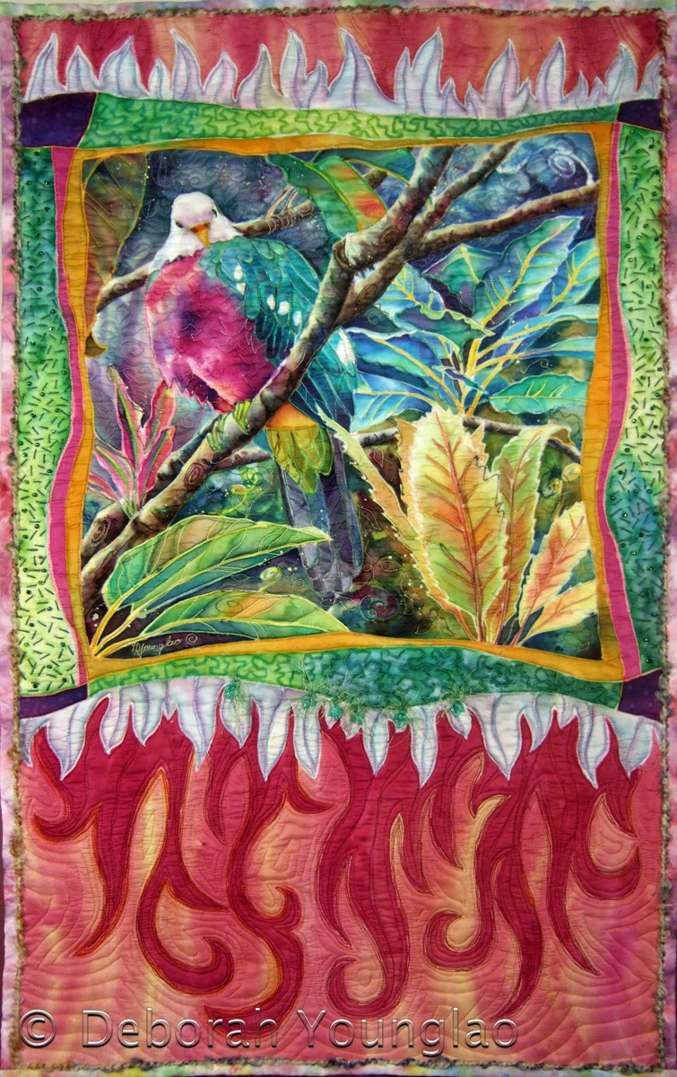 'Magnificent Fruit Dove', 38 x 23 in. Quilted painting