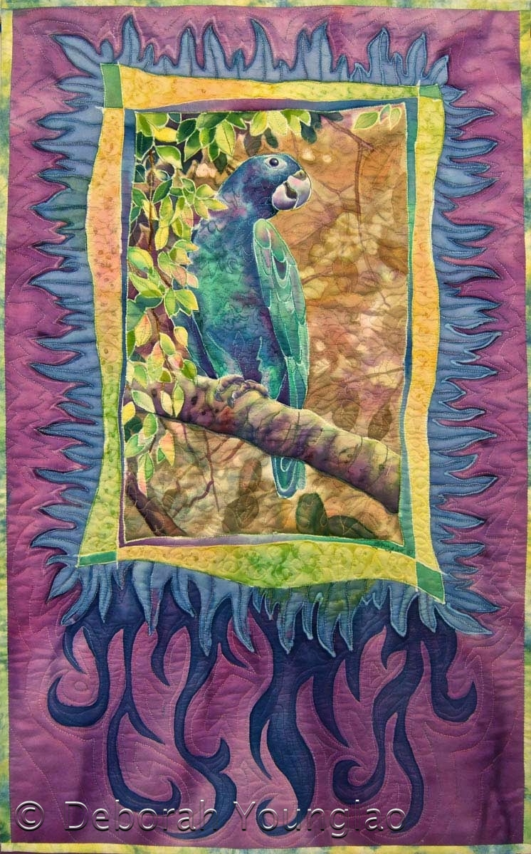 'Pete Conure', 38 x 23 in. Quilted painting