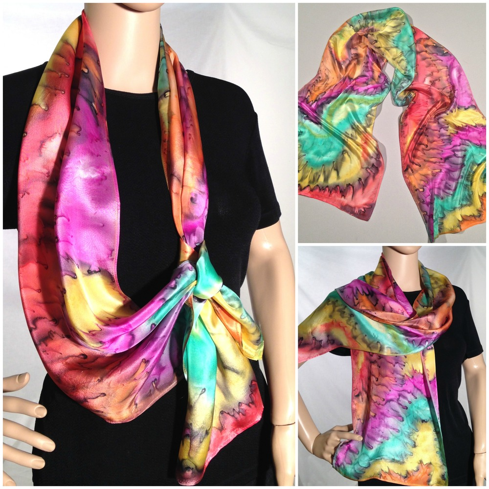 #405 - 12 x 60 in., lightweight paj silk scarf.  Fuchsia, yellow, orange, peppermint green