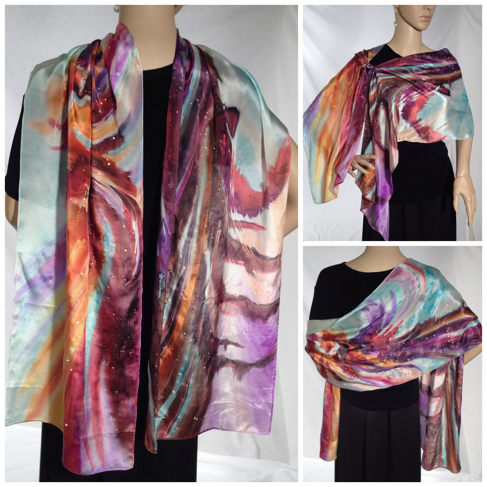 #424 - 14 x 72 in. Lightweight silk satin scarf.  Turquoise, purple, brown, red, orange, golden yellow