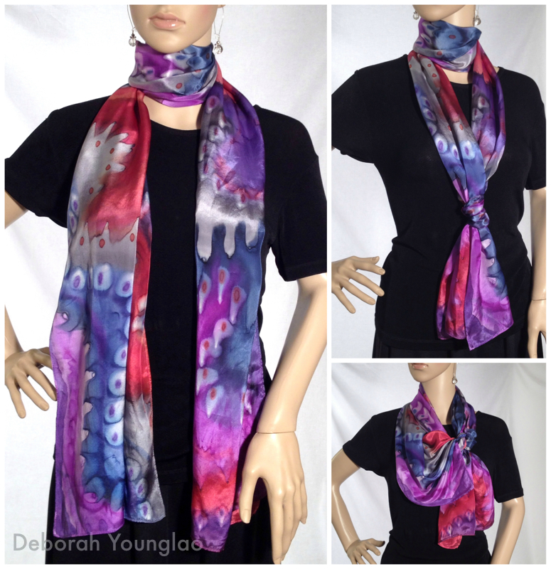 #421 - 14 x 72 in. Lightweight silk satin scarf.  Navy, red, magenta, grey