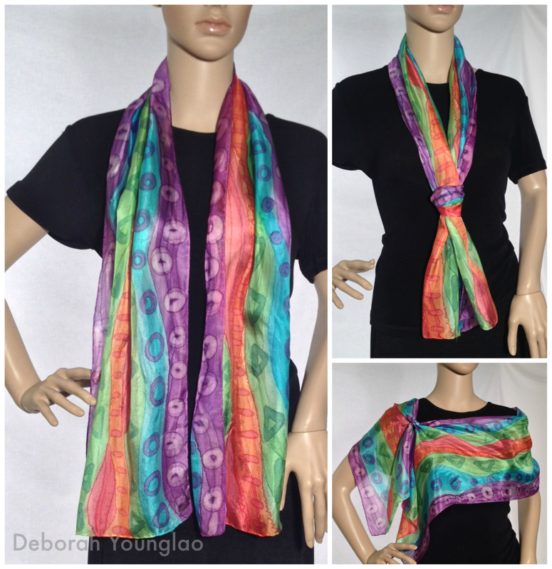 #336 - 11 x 60 in.  Purple, turquoise, lime green, orange, red