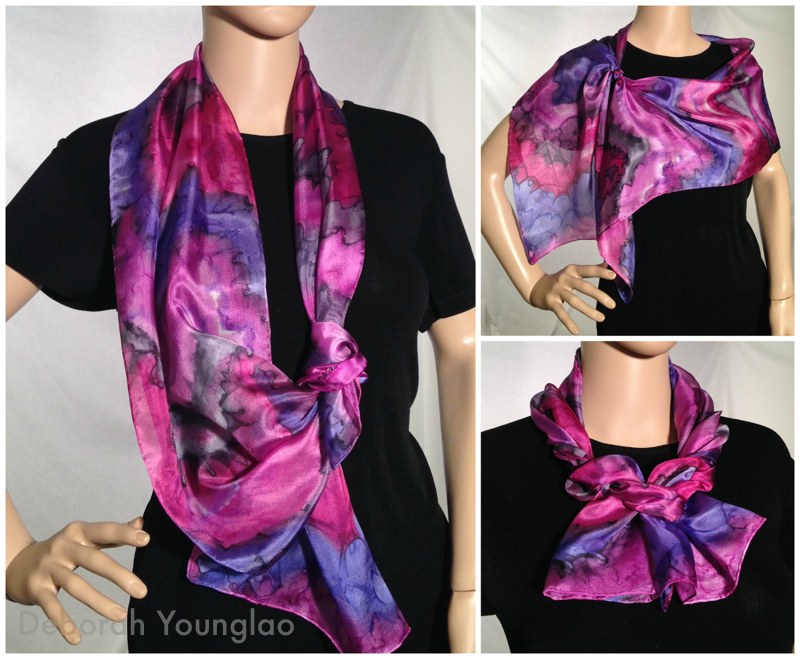 #326 - 12 x 60 in., lightweight paj silk scarf.  Magenta, purple, grey