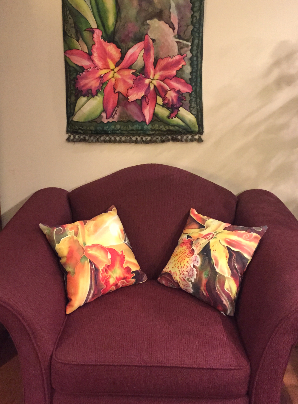 "These are the 14"" square pillows - they really liven up the room plus continue the orchid theme!"