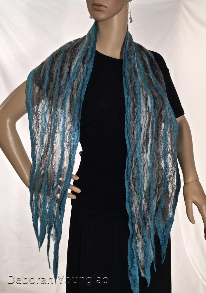 Cobweb felted scarf