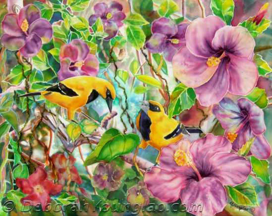 Please Share!, 16 x 20 in.  These beauties are yellow orioles, native to South America and Trinidad. My brother lives in the hills of Trinidad, and has a large balcony overlooking the forest. Great for bird watching! When mom lived there, she used to put out fruit and bread for them every morning... there would be quite a raucous line-up for her goodies. Mom had  decided that since she ate her bread buttered, it would be rude to give her feathered friends dry bread... so she buttered every piece! I don't know whether butter is good or bad for birds but they sure loved it! She got many kinds of visitors, but the orioles were her favorite.