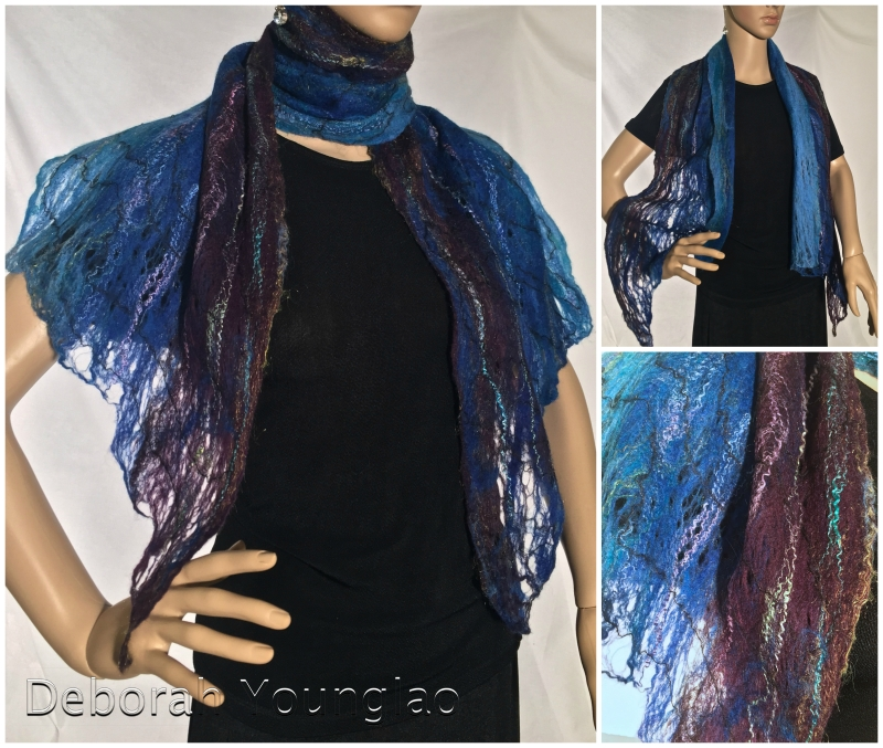 Wool lace scarf fibers - Merino, firestar, silk, mohair yarn. I love how this one drapes over the shoulders!  Available at  Village Art Circle  in Cary, NC.