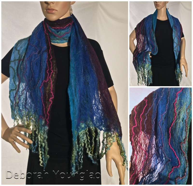 Wool lace scarf. Fibers - Merino, firestar, mixed wool yarn, dyed wool locks.  Available at  311 Gallery  in Raleigh, NC.