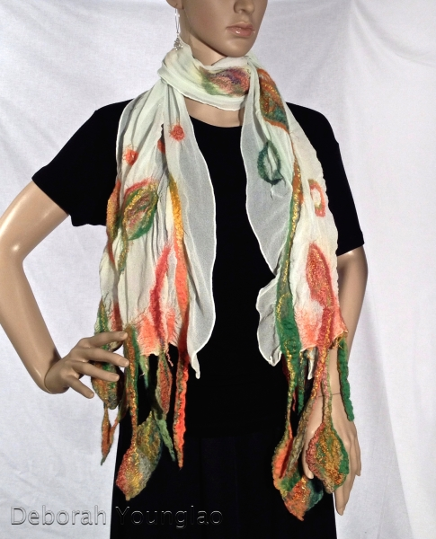 Nuno felted scarf with leaf design in wool and silk fibers