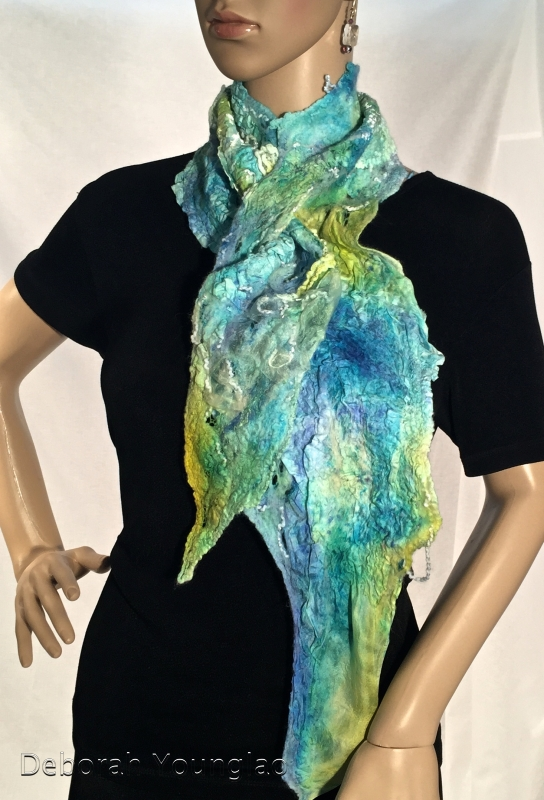 Nuno felted scarf with manipulated silk