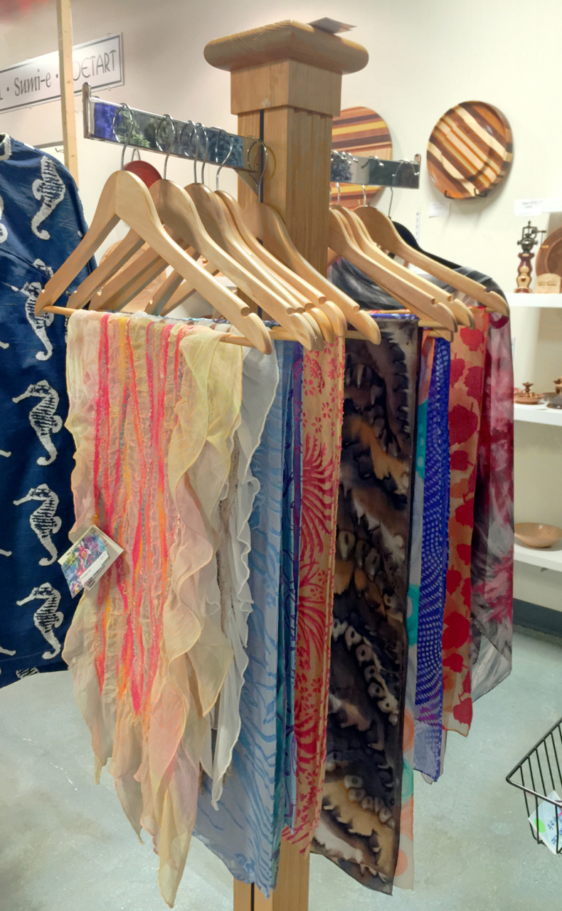 Silk scarf rack at Joyful Jewel | Deborah Younglao