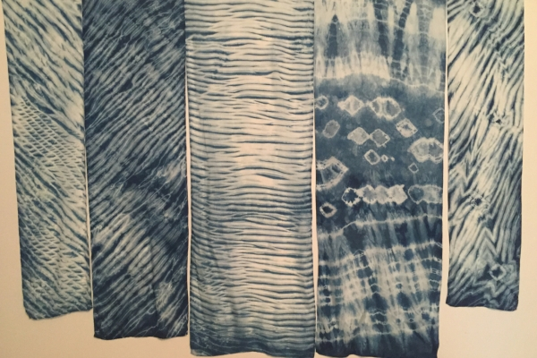 A selection of my indigo dyed silk scarves