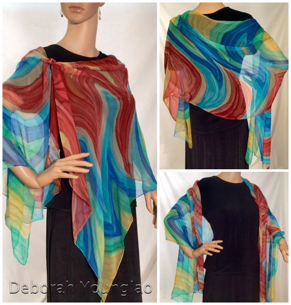 Super-sheer silk crinkle chiffon shawl, 22 x 72 in. Featuring Marsala. Toasted Almond, Scuba Blue, Classic Blue, Lucite Green and Custard.