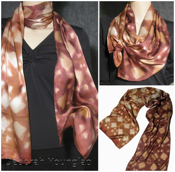 Silk charmeuse scarf, 15 x 72 in. Featuring various shades of Marsala and Toasted Almond.