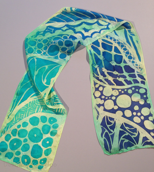 Zentangle inspired hand painted silk scarf | Deborah Younglao