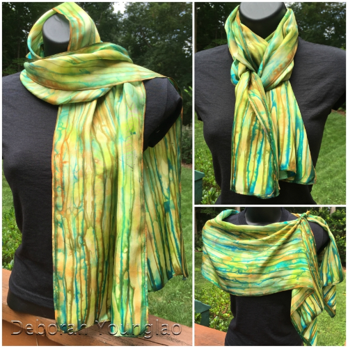 Silk habotai scarf, hand painted with Colorhue dyes.