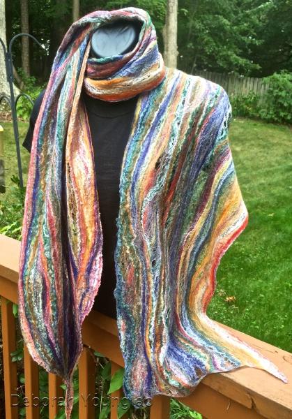 Cobweb felted scarf. Merino/silk blend.
