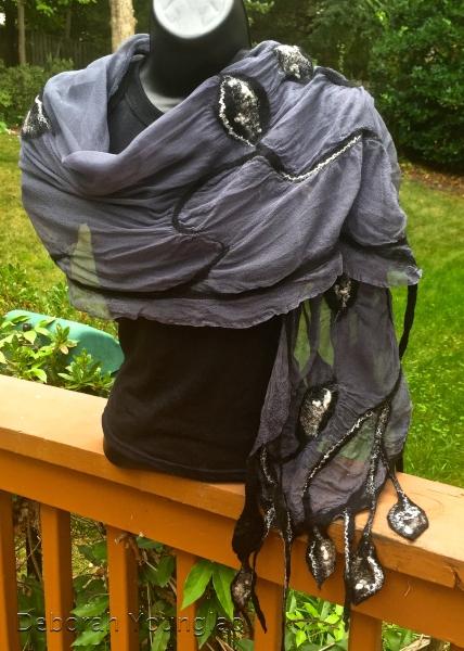 Nuno felted shawl. Merino/silk blend on silk gauze.