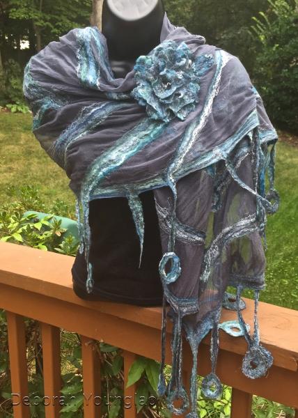 Nuno felted shawl with matching felted flower brooch. Merino/silk blend on silk gauze.