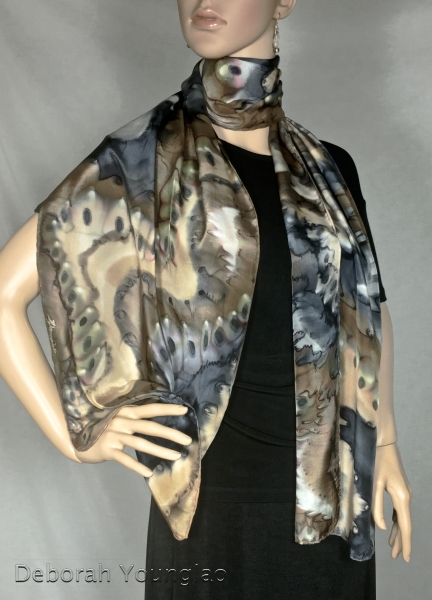 Abstract hand painted silk scarf