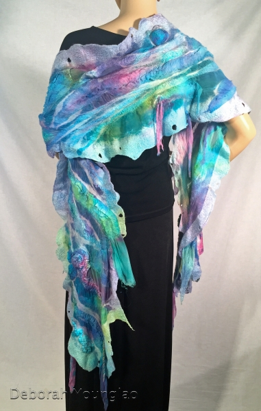 "Nuno felted, hand painted wrap, 14"" x 80"". Wool, silk and tencel fibers; silk fabrics on silk gauze."