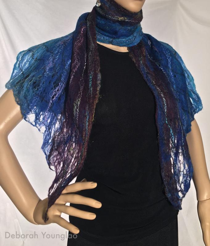 Cobweb felted scarf. Merino wool, wool yarn.
